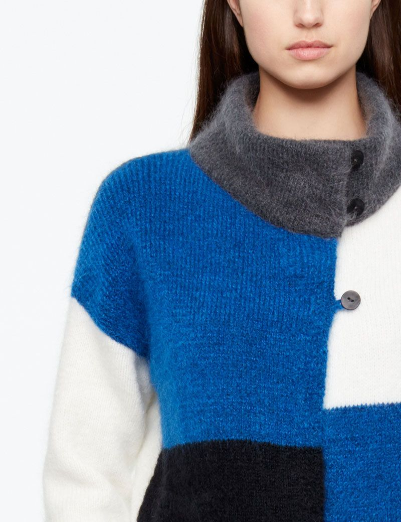 Sarah Pacini LONG CARDIGAN - COLOR-BLOCK