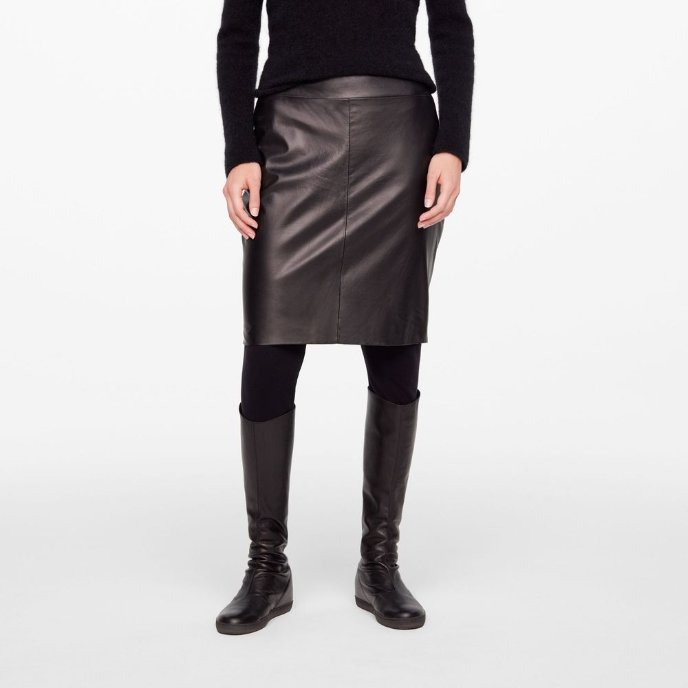 Sarah Pacini LEATHER PENCIL SKIRT - SLIT