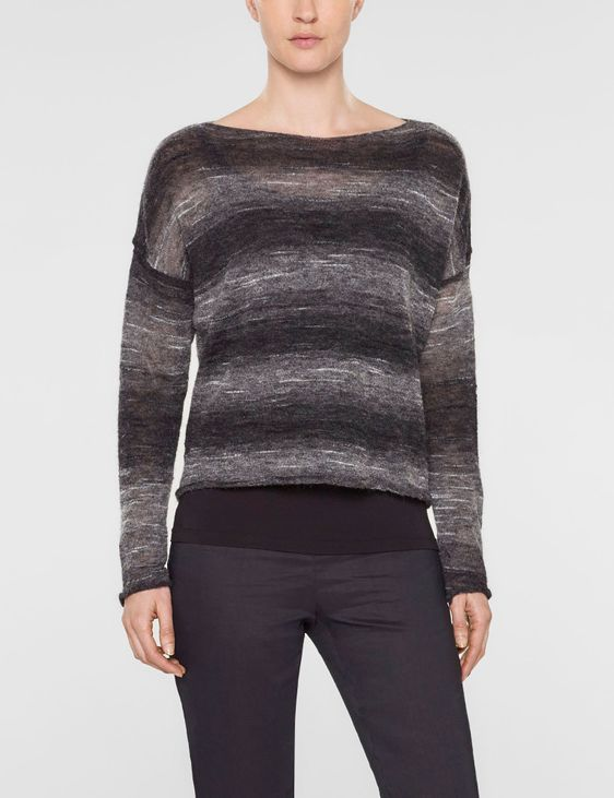 Sarah Pacini Short large sweater with long sleeves and scoop neckline