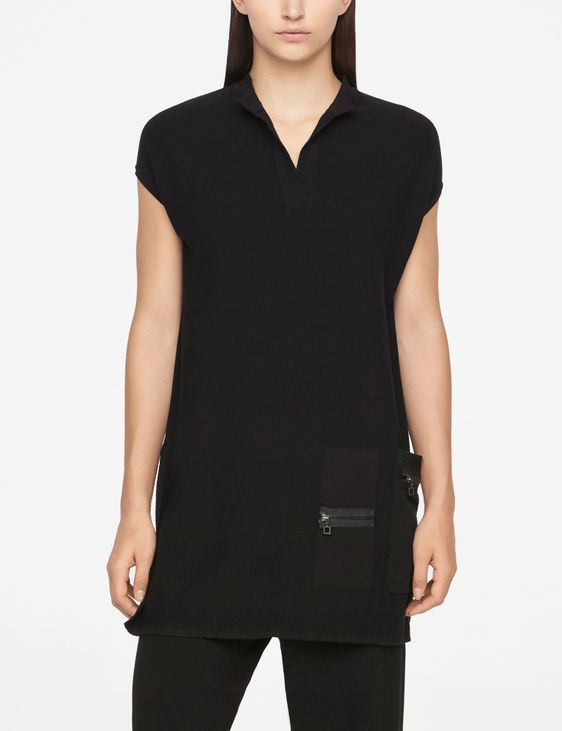Sarah Pacini LONG SWEATER - ZIPPER DETAILS