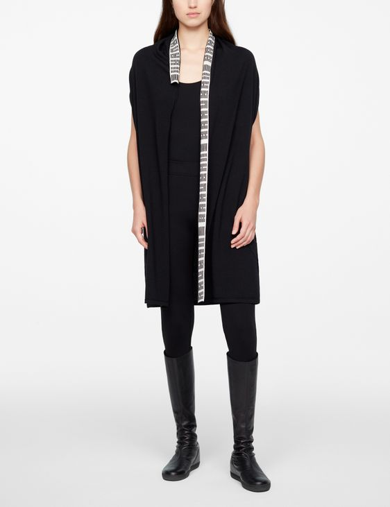 Sarah Pacini SLEEVELESS CARDIGAN - HEXAGRAMS
