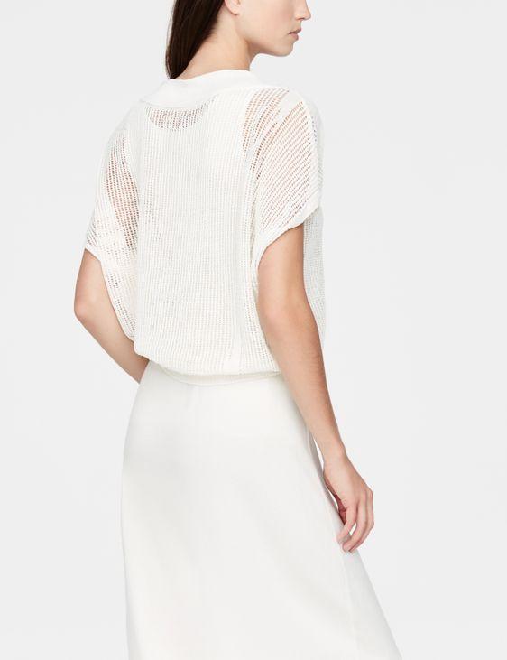 Sarah Pacini Perforated linen sweater - cap sleeves