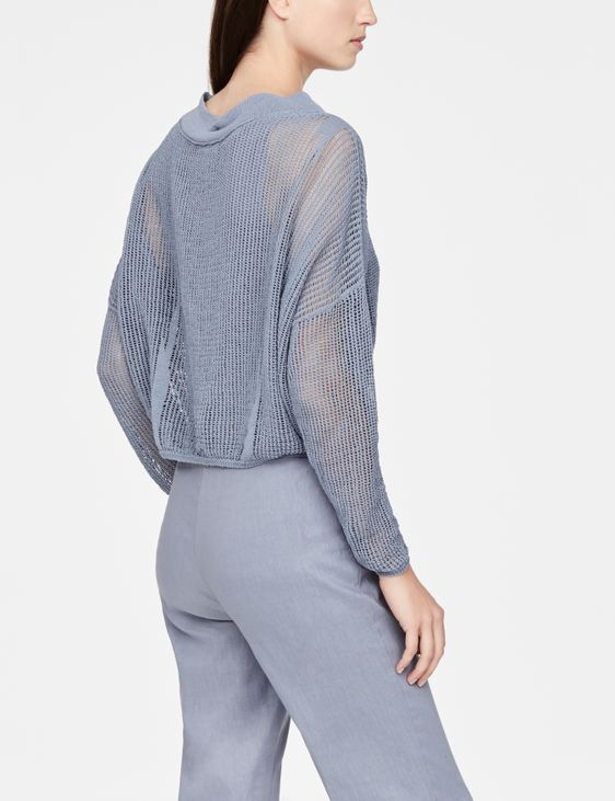 Sarah Pacini Perforated linen sweater - full sleeves
