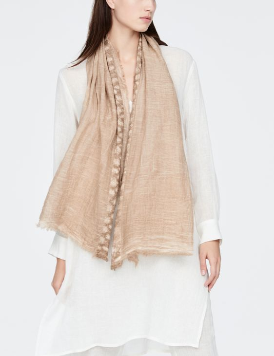 Sarah Pacini Écharpe en coton fin - appliqué