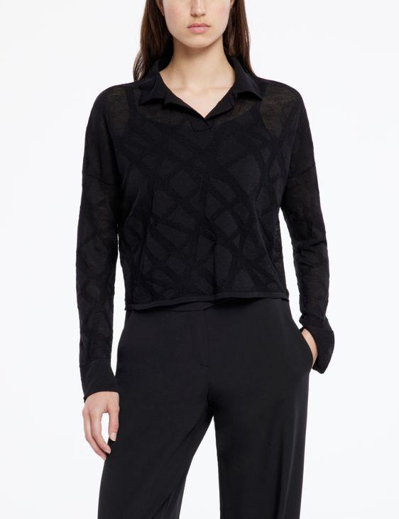 Sarah Pacini Pull en laine mérinos - lignes entrecroisées
