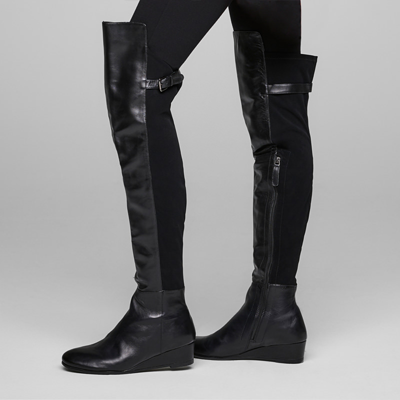 Sarah Pacini SUEDE THIGH BOOTS Back view