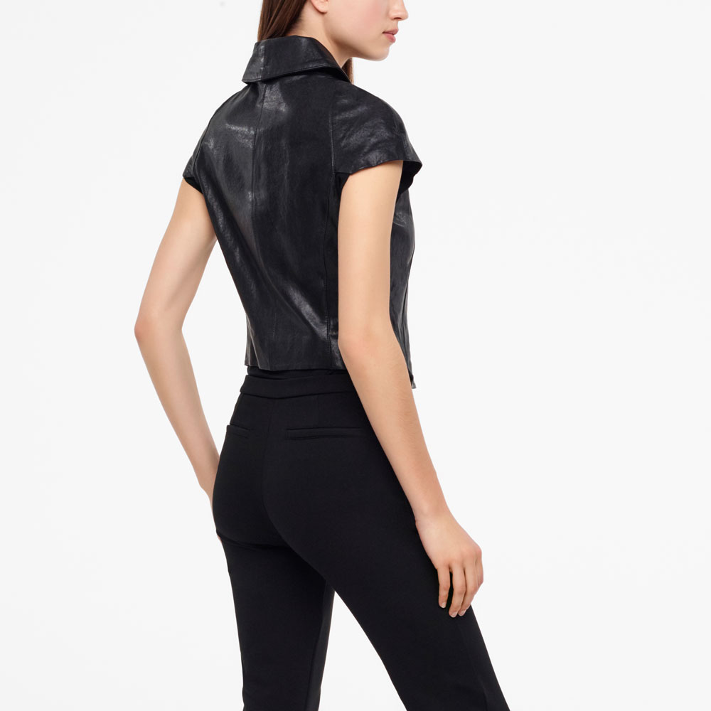 Sarah Pacini LEATHER JACKET - CAP SLEEVES Back view