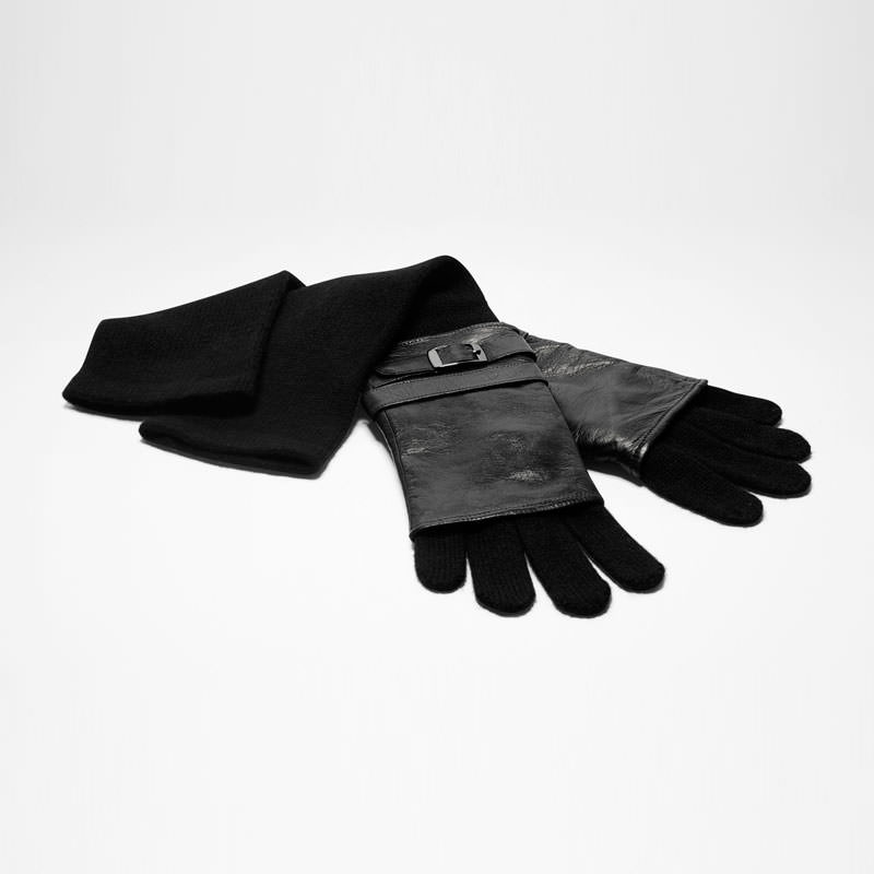 Sarah Pacini LONG GLOVES - LEATHER AND WOOL Front