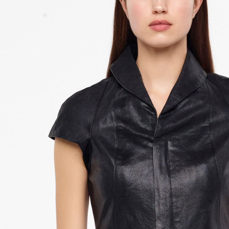 Sarah Pacini LEATHER JACKET - CAP SLEEVES Front