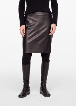 Sarah Pacini LEATHER PENCIL SKIRT - SLIT Front