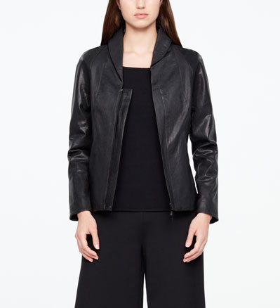 Sarah Pacini LEATHER JACKET - RAISED COLLAR Front