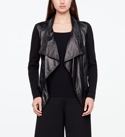 Sarah Pacini LEATHER JACKET - OPEN STYLE Front