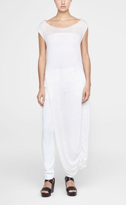 Verrassend Witte linnen jurk met zijsplit - Sarah Pacini FD-95