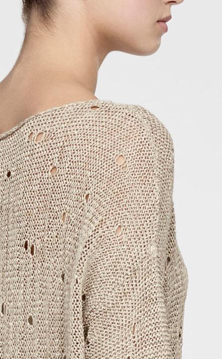 Sarah Pacini Pull long en lin, détails crochet Derrière