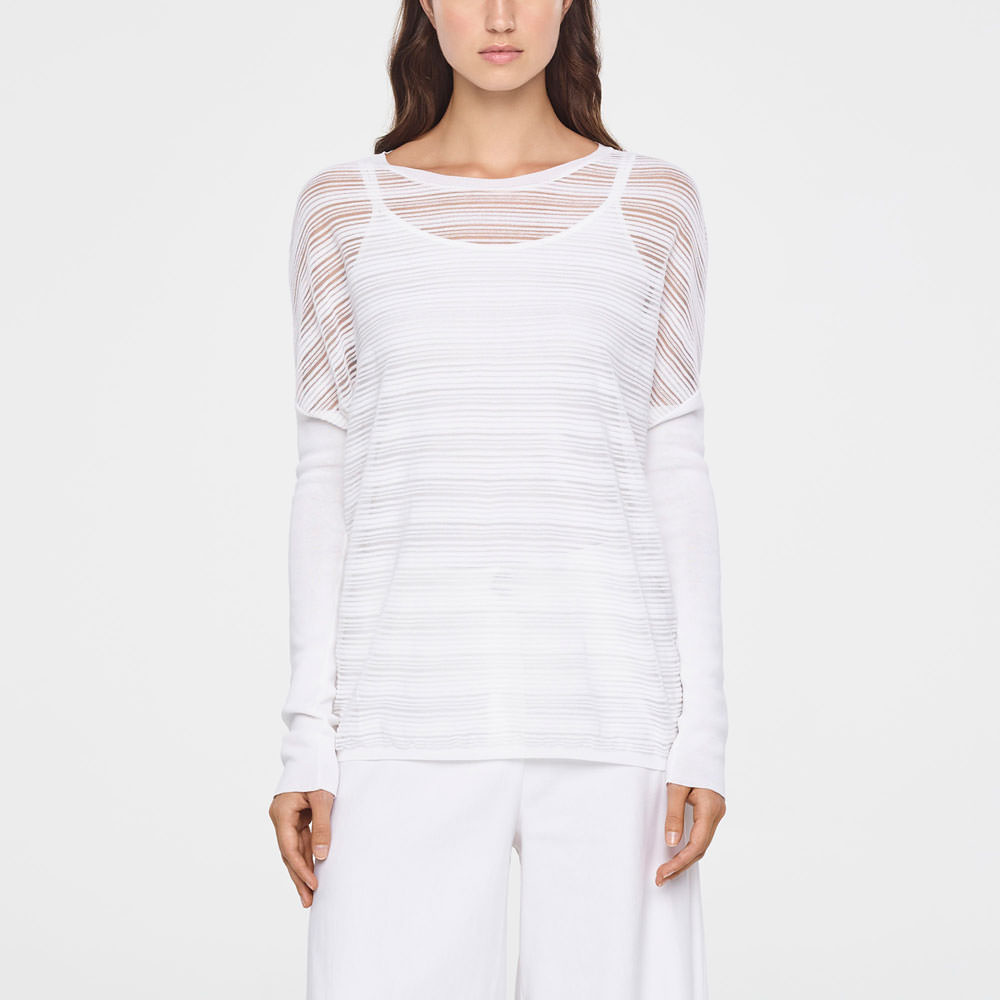 39383fab3 White translucent striped sweater - long sleeves by Sarah Pacini