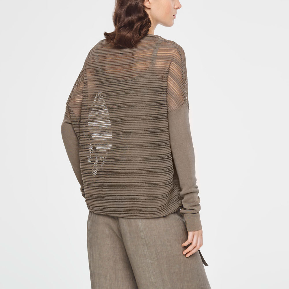 Sarah Pacini TRANSLUCENT STRIPED SWEATER - LONG SLEEVES Back view