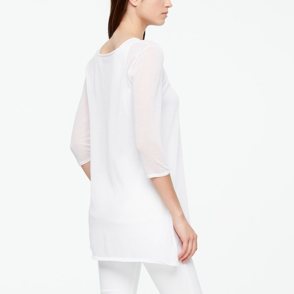 Sarah Pacini COTTON VEIL SWEATER - 3/4 SLEEVES Back view