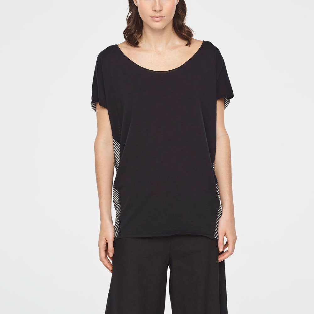 Sarah Pacini TWO-TONE STRIPED SWEATER Front