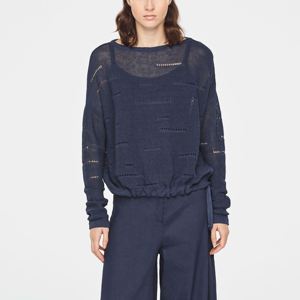 Sarah Pacini CROCHET LINEN SWEATER WITH DRAWSTRING Front
