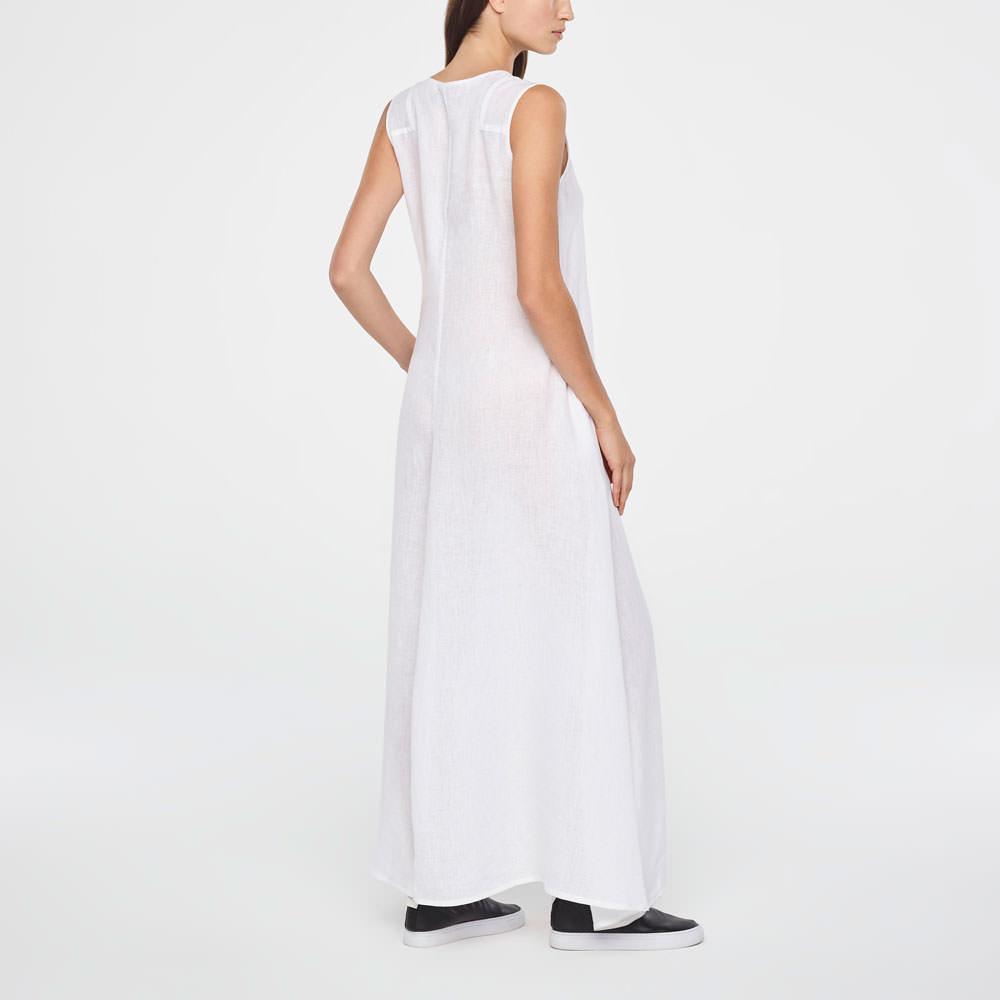 6bff7e54673f White linen maxi linen summer dress by Sarah Pacini
