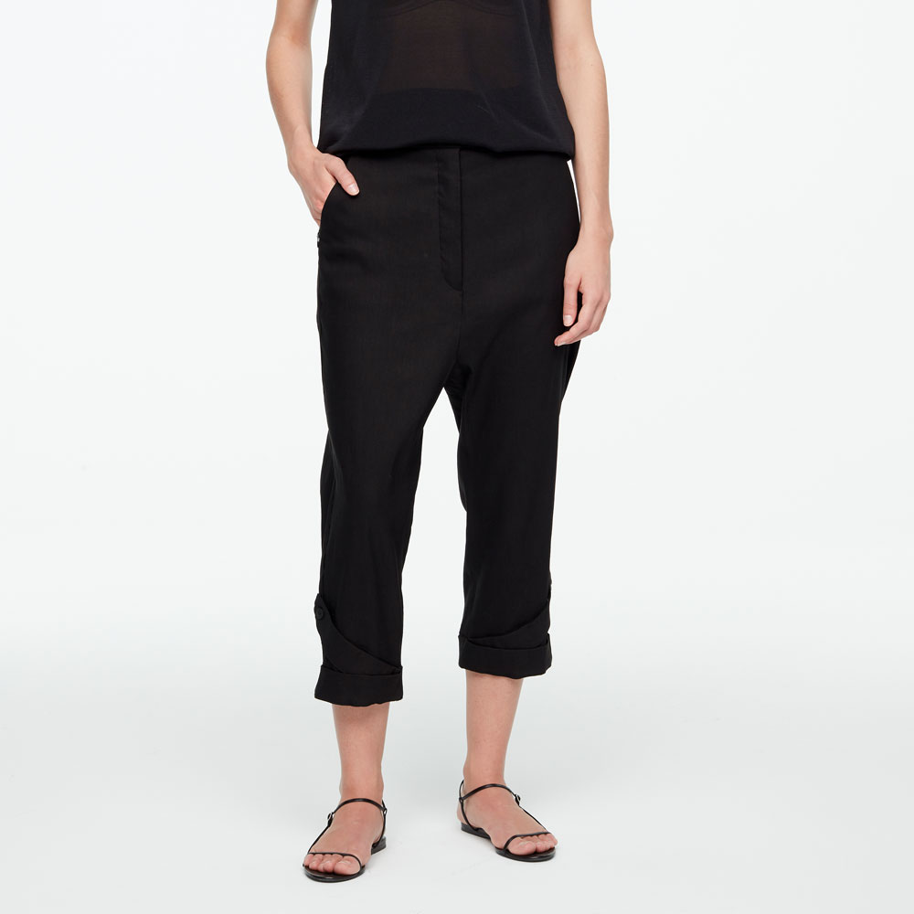 Sarah Pacini CROPPED LINEN PANTS WITH CUFFS Front