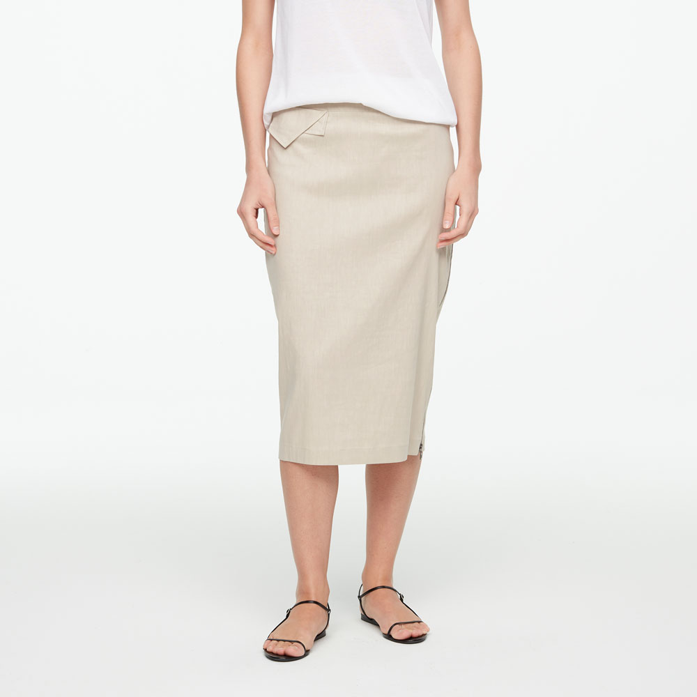 Sarah Pacini STRETCH LINEN SKIRT - SIDE ZIPPER Front