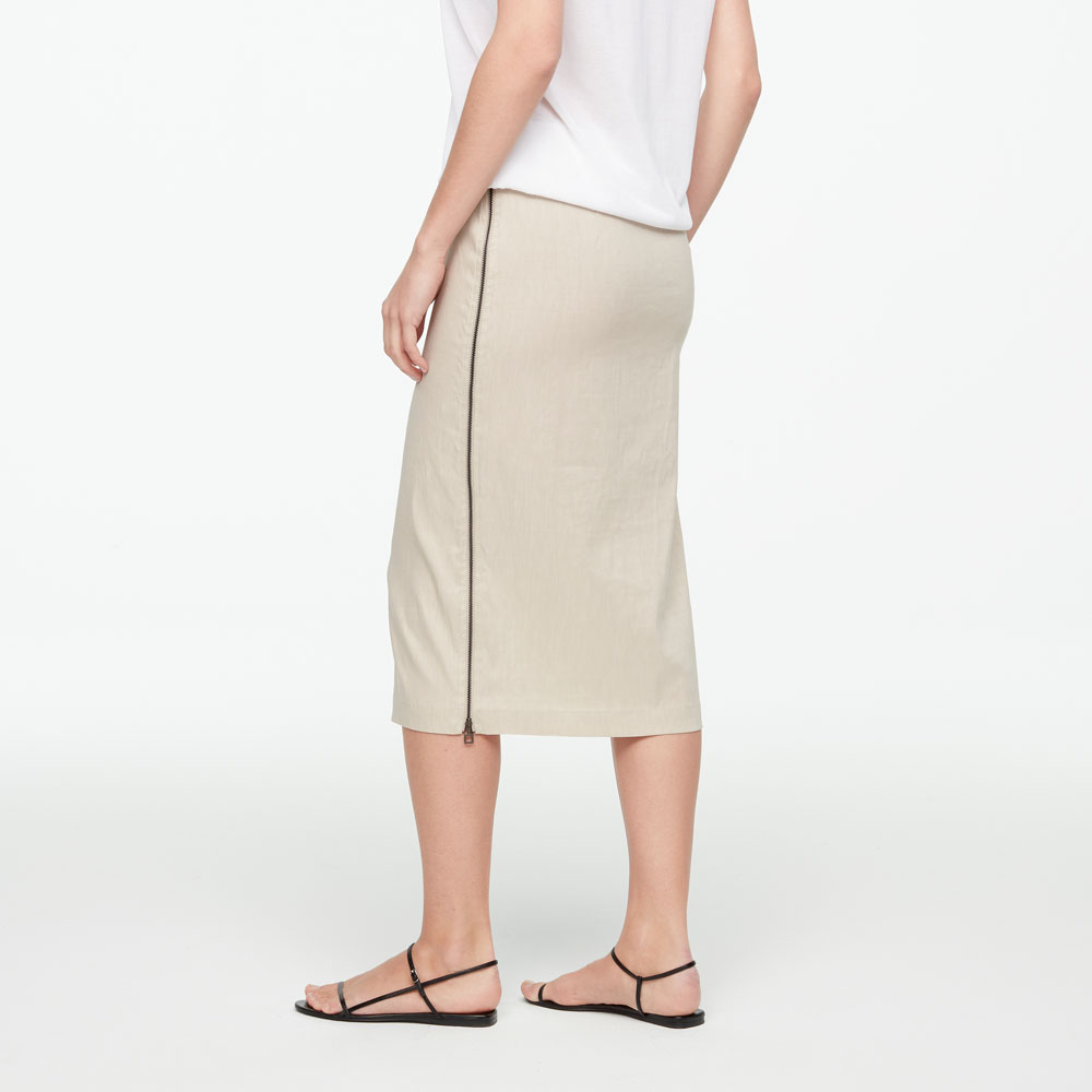 Sarah Pacini STRETCH LINEN SKIRT - SIDE ZIPPER Back view