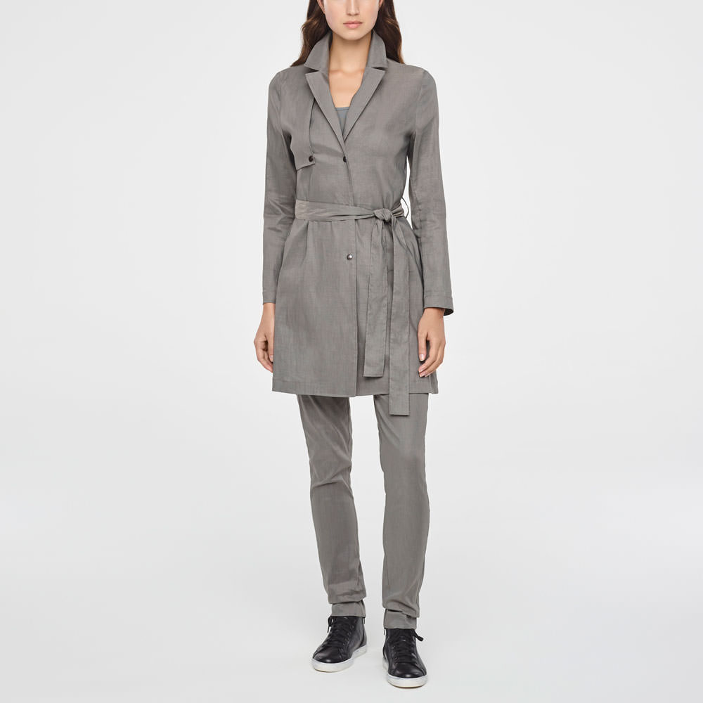 Sarah Pacini SINGLE-BREASTED LINEN TRENCH COAT Front