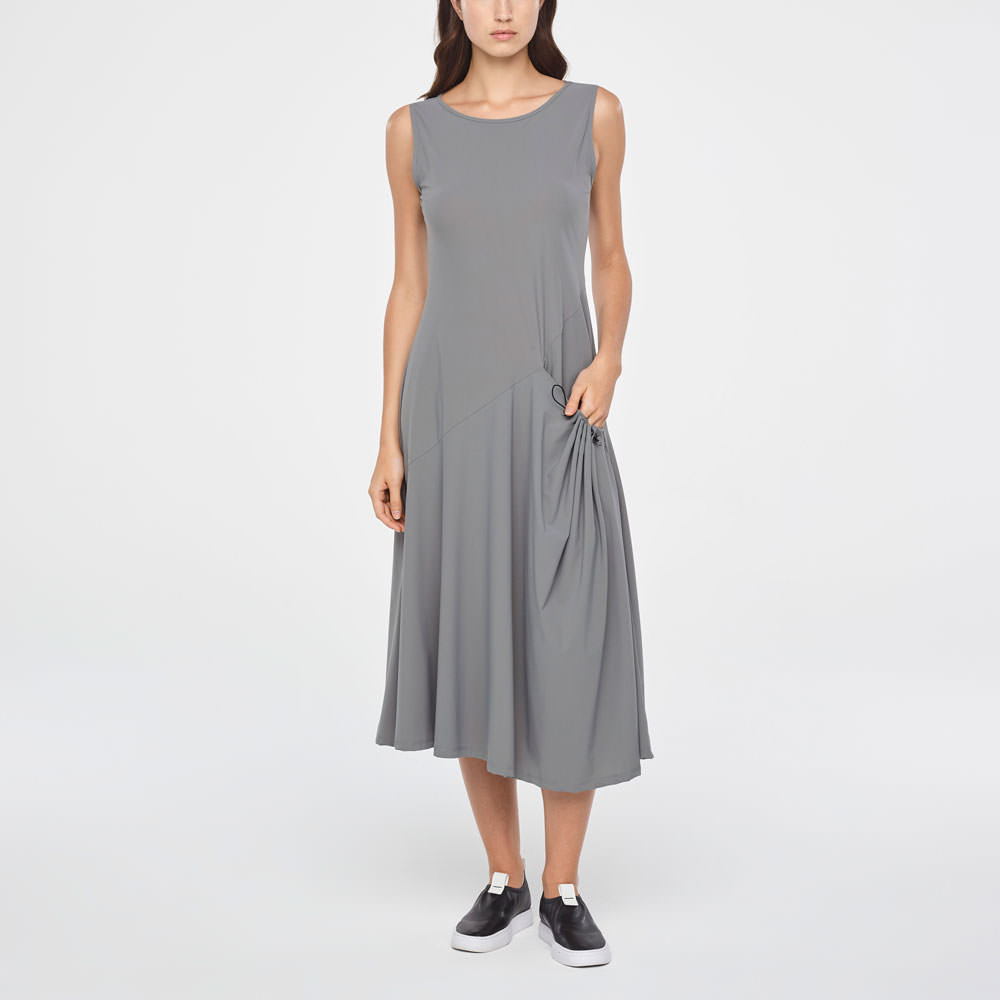 1dcc486902cc Grey maxi summer dress - pouch pocket by Sarah Pacini