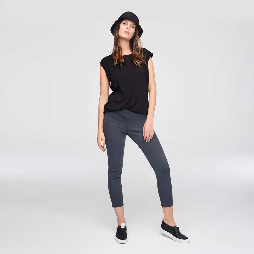 Sarah Pacini STRETCH COTTON CROPPED LEGGINGS Front