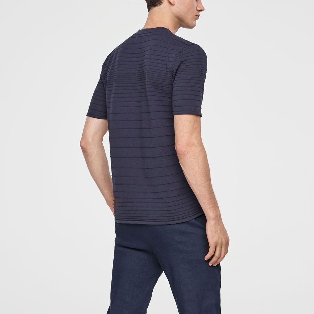 Sarah Pacini STRIPED COTTON HENLEY Back view