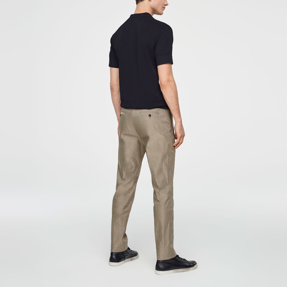Sarah Pacini STRETCH-LINEN PANTS - ZIPPERED POCKETS Back view