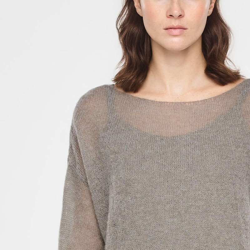 Sarah Pacini ULTRA-LIGHT MOHAIR SWEATER WITH POCKETS Front