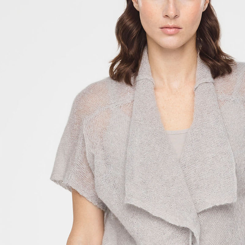Sarah Pacini CROPPED ULTRA-LIGHT MOHAIR CARDIGAN - SHORT SLEEVES Front