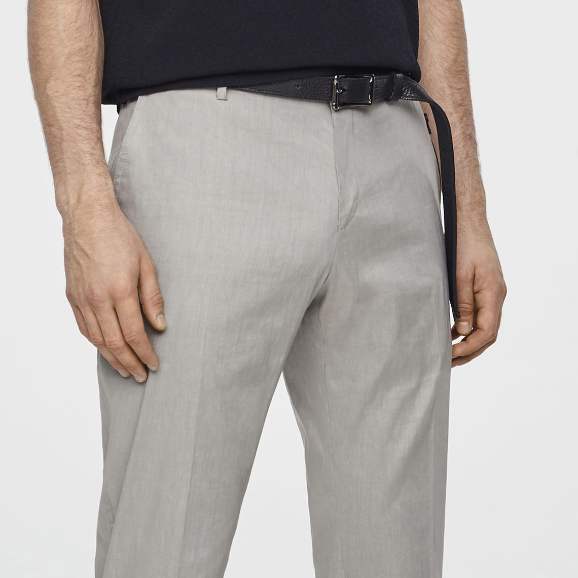 Sarah Pacini STRETCH-LINEN PANTS - ZIPPERED POCKETS Front