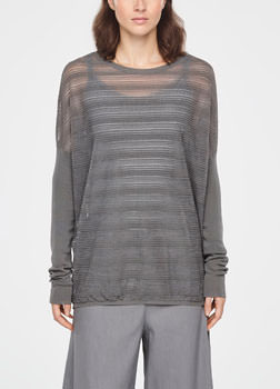 Sarah Pacini TRANSLUCENT STRIPED SWEATER - LONG SLEEVES Front