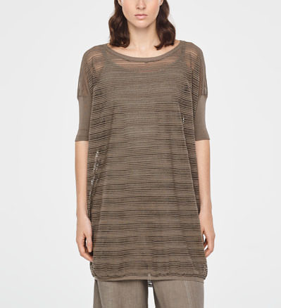 Sarah Pacini TRANSLUCENT STRIPED SWEATER - SHORT SLEEVES Front