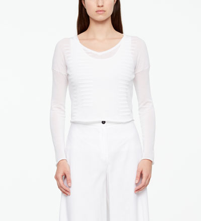 Sarah Pacini CROPPED COTTON SWEATER - STRIPES Front