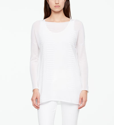 Sarah Pacini LONG COTTON SWEATER - STRIPES Front