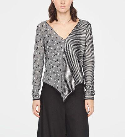 b2d6d26d6 STRIPED AND POLKA DOT SWEATER - V-NECK · Sarah Pacini Striped and polka dot long  sweater - front