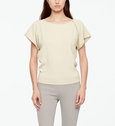 Sarah Pacini SUMMER SWEATER WITH SHOULDER SLIT Front