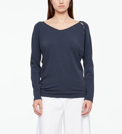 Sarah Pacini SUMMER SWEATER - SHOULDER SLIT Front