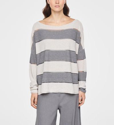 ede0bca5e TWO-TONE STRIPE SWEATER · Sarah Pacini Linen slit pocket sweater - short  sleeves - front