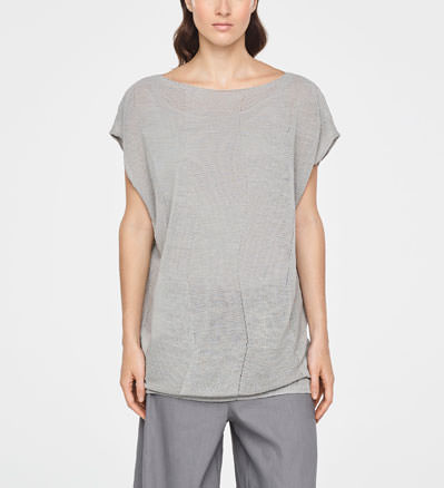 Sarah Pacini CHECKERED LINEN SWEATER - CAP SLEEVES Front