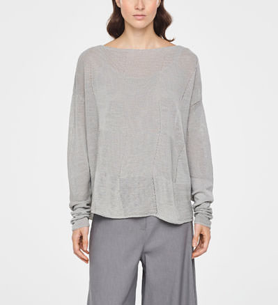 851326984 CHECKERED LINEN SWEATER · Sarah Pacini Lace linen sweater - short sleeves -  front