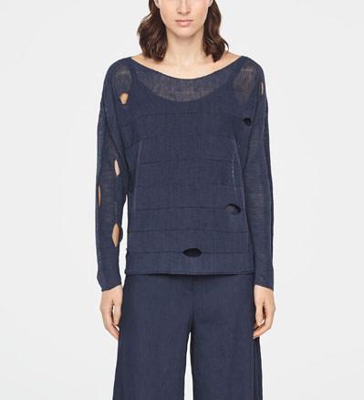 72b8d3cd0 BOHEMIAN LINEN SWEATER · Sarah Pacini Crochet linen sweater - front