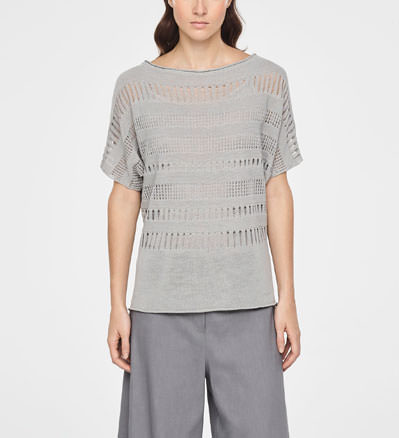 Sarah Pacini LACE LINEN SWEATER - SHORT SLEEVES Front