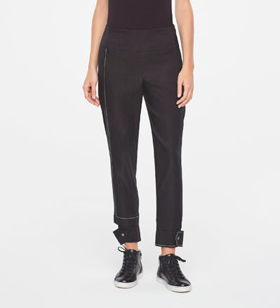 Sarah Pacini CROPPED LINEN PANTS WITH CUT-OUTCUFFS Front