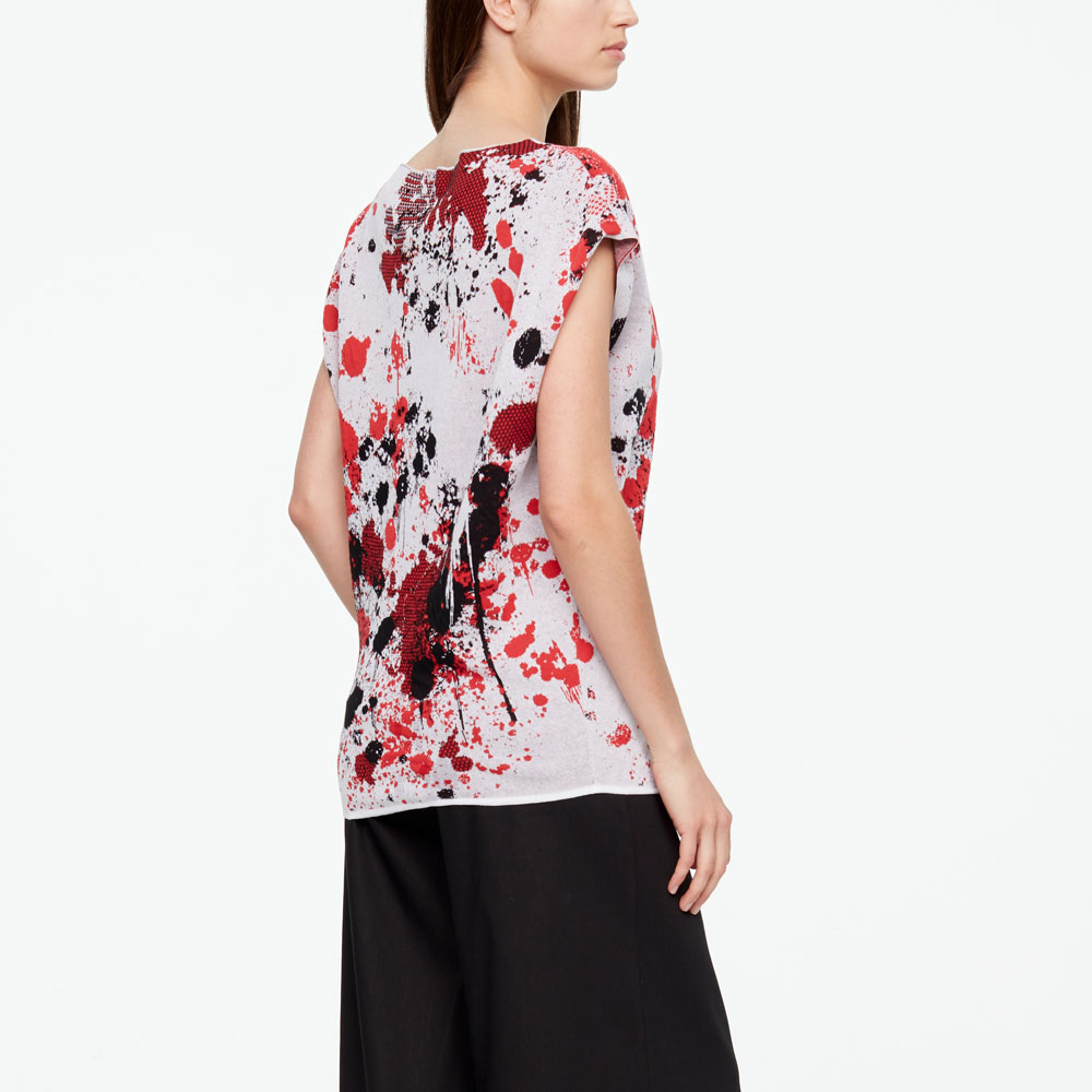 Sarah Pacini MURAL SWEATER - CAP SLEEVES Back view