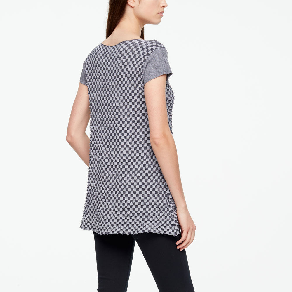 Sarah Pacini MAKO COTTON SWEATER - DAMIER Back view